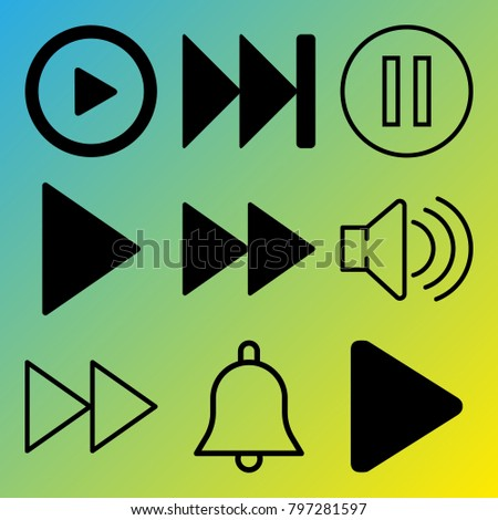 Audio Media vector icon set consisting of 9 icons about sound, pause, fast forward, fast forward button, play, pause button, notification, bell and play button
