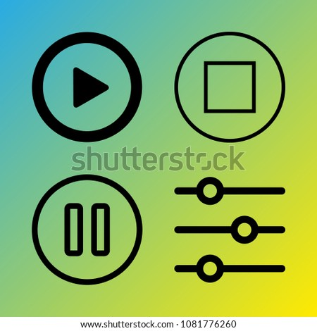 Audio Media vector icon set consisting of 4 icons about stop, sound controller, play button, stop button, pause, pause button and play