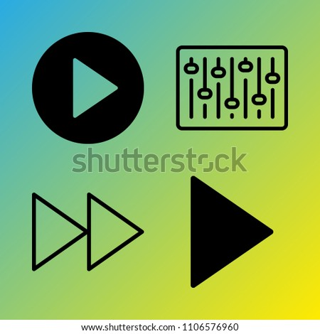 Audio Media vector icon set consisting of 4 icons about up, link, polygon, young, childhood, website, fast forward, display, illustration and doodle