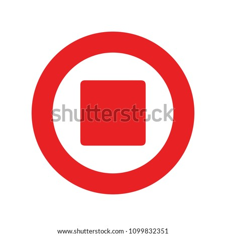 audio music control icon. Stop Media Player button - video record symbol isolated
