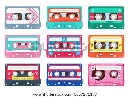 Audio or compact cassettes set. Retro music symbol collection. Magnetic tape for old styled recorder, player. Musicassette, sound, nostalgia. Vector music cassette isolated on white background. Foto stock ©