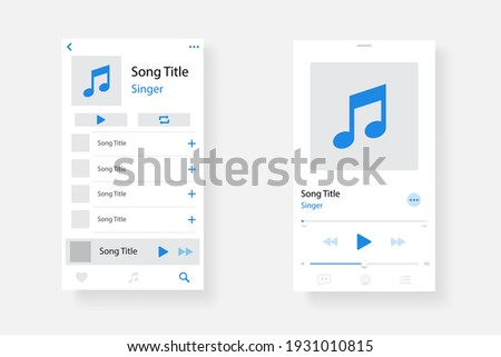 Audio player interface. Music player app interface. Social media screen template mobile audio player. Ui interface. Profile, Album, Song, Playlist mockup. App interface template. Play button. EPS 10