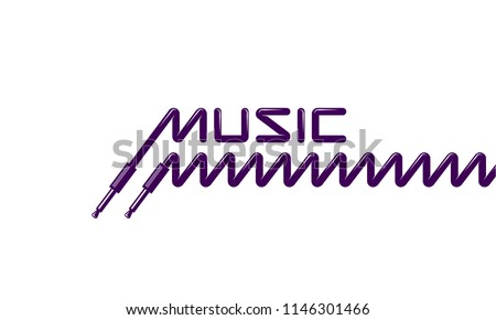 Audio plug and spring cord. Music text from the headphone plug and spiral cord.