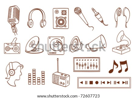 audio related icon set - stock vector