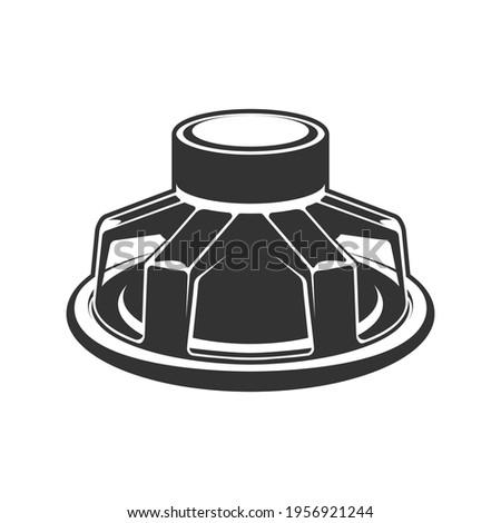 Audio speaker icon. Subwoofer speaker for car.  Сток-фото ©
