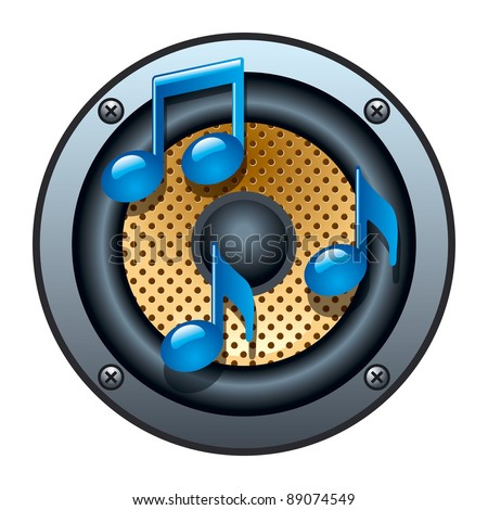 Stock Photo Audio Speaker Icon with Musical Notes on White Background. Vector Illustration