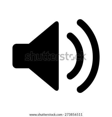 Audio speaker volume or music speaker volume on flat vector icon for apps and websites
