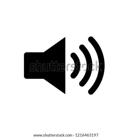 Audio symbol icon, vector speaking flat trumpet sound noise, black trumpet vector symbol, flat vector app logo, loudspeaker sign isolated, audio volume
