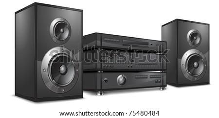 Audio system, music center on white, vector illustration