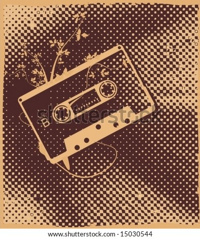 audio tape on retro dotted background - stock vector