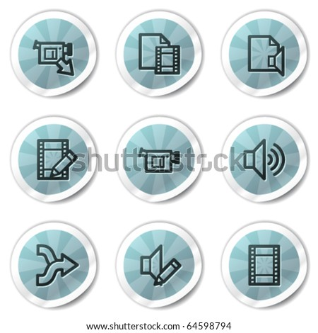 Audio video edit web icons , blue shine stickers series