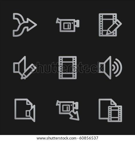 Audio video edit  web icons, grey mobile style