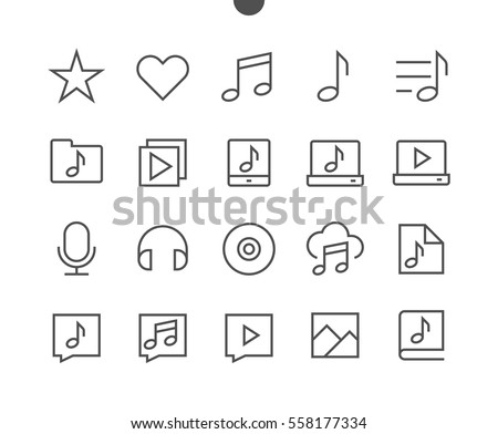 Audio Video Pixel Perfect Well-crafted Vector Thin Line Icons 48x48 Ready for 24x24 Grid for Web Graphics and Apps with Editable Stroke. Simple Minimal Pictogram Part 3-5