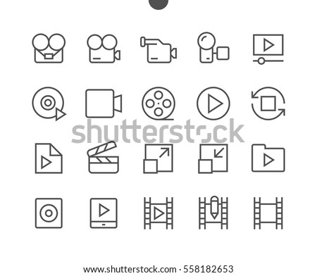 Audio Video Pixel Perfect Well-crafted Vector Thin Line Icons 48x48 Ready for 24x24 Grid for Web Graphics and Apps with Editable Stroke. Simple Minimal Pictogram Part 4-5 Сток-фото ©