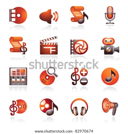 Audio video web icons. Black and red series. - stock vector