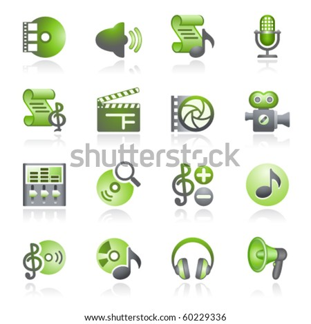 Audio video web icons. Gray and green series.
