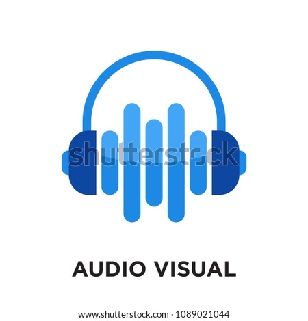 audio visual logo isolated on white background for your web and mobile app design , colorful vector icon, brand sign & symbol for your business, audio visual icon concept