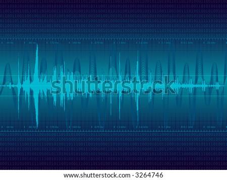 Audio Waveform vector background (only linear gradients) - stock vector