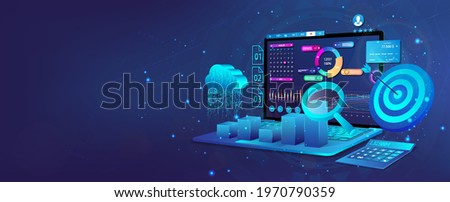 Audit, Business analysis, financial management, growth strategy and financial goal. Business development concept. Web banner with laptop, 3D cloud, calculator and dashboard with financial analysis.