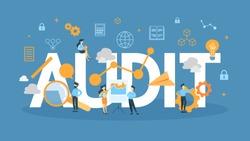 Audit concept illustration. Idea of finances and data.