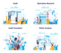 Audit concept set. Business operation research and analysis. Financial inspection and analytics. Isolated flat vector illustration