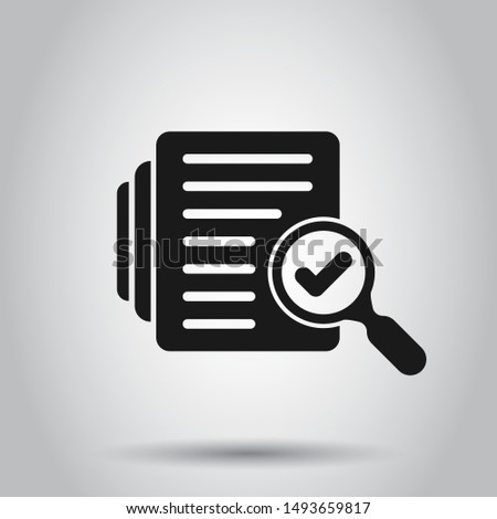 Audit document icon in flat style. Result report vector illustration on isolated background. Verification control business concept.