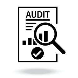 audit icon. Document inspection icons such as quality, finance, production