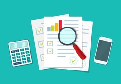 Audit icon. Financial research and report. Document with verification data and result of analyze. Auditor, accountant check on paper. Chart on sheet for seo analytics, control quality, review. Vector.