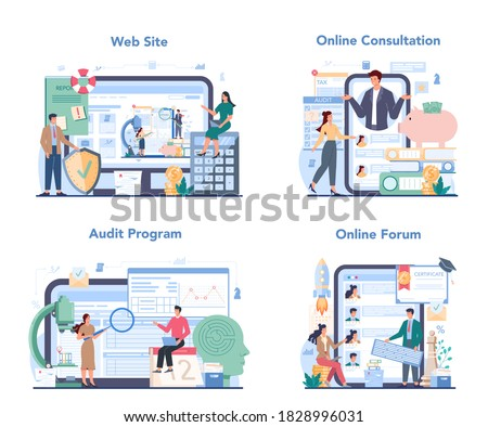 Audit online service or platform set. Business operation research and analysis. Professional financial management. Online consuktation, program forum, website. Isolated flat vector illustration Stock photo ©