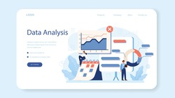 Audit web banner or landing page. Business operation research and analysis. Financial inspection and analytics. Isolated flat vector illustration