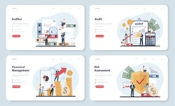 Audit web banner or landing page set. Business operation research and analysis. Professional financial management. Financial inspection and analytics. Isolated flat vector illustration
