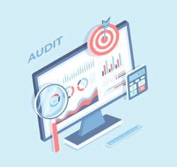 Auditing, analysis, accounting, calculation, analytics. Charts graphs on the monitor screen, magnifying glass, calculator, target. Business strategy profit growth. Isometric 3d vector