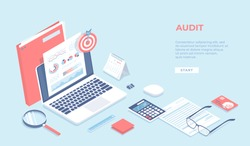 Auditing, analysis, accounting, calculation, analytics. Documents with charts graphs on the laptop screen, folder, magnifying glass, calculator, calendar, target. Isometric 3d vector background