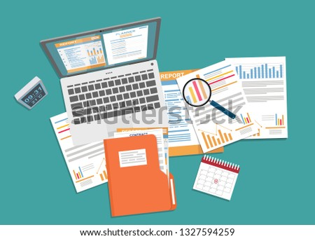 Auditing and business analysis concept. Financial adviser, auditing tax process, big data analysis, auditing tax process, seo analytics, financial report. Stock foto ©