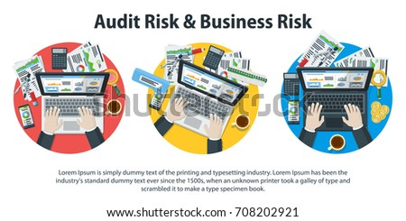 Auditing and business concepts. Business accounting. Research, analysis, test, analytics, data, project management, planning. A set of templates for the site and advertising. Vector illustration