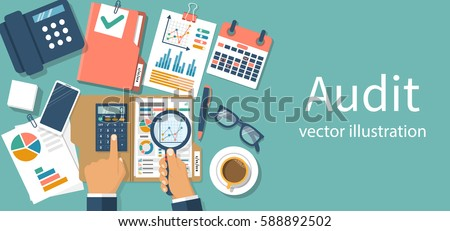 Auditing concepts. Auditor at table during examination of financial report. Tax process. Research, project management, planning, accounting, analysis, data. Vector illustration flat design.