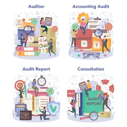 Auditor concept set. Business operation research and analysis. Professional financial management. Financial inspection and analytics. Isolated flat vector illustration