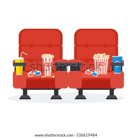Auditorium and two red comfortable armchairs in the cinema. Drinks and popcorn, glasses for movie Flat vector cartoon Cinema seats illustration. Objects isolated on a white background.