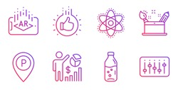 Augmented reality, Creativity concept and Parking line icons set. Like hand, Seo statistics and Chemistry atom signs. Water bottle, Dj controller symbols. Phone simulation, Graphic art. Vector