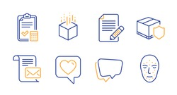Augmented reality, Delivery insurance and Mail letter line icons set. Article, Accounting checklist and Heart signs. Speech bubble, Face biometrics symbols. Line augmented reality icon. Vector