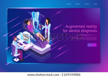Augmented Reality for Dental Diagnosis Isometric Web Banner with Patient Sitting on Dentist Chair and Doctors Examining Jaw on Monitor and Sick Tooth Virtual 3d Image. Dental Clinic Web Page Template