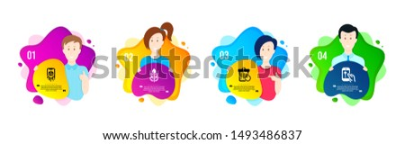 Augmented reality, Recovery trash and Gluten free icons simple set. People shapes timeline. Swipe up sign. Phone simulation, Backup file, Bio ingredients. Scrolling screen. Science set. Vector