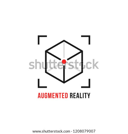 augmented reality with thin line cube. flat linear trend modern ar logotype graphic art design isolated on white. concept of future visual simulation via smartphone or tablet and innovation technology
