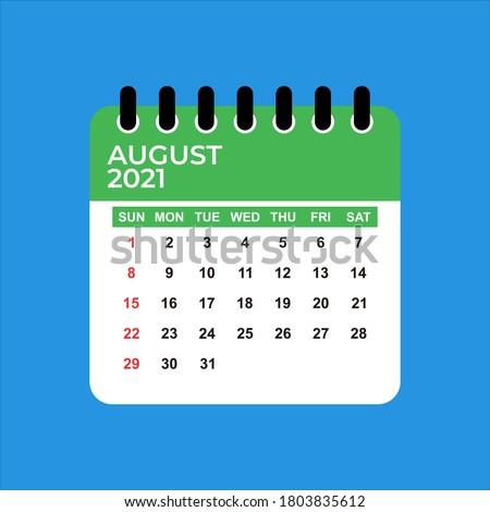 August 2021 Calendar. August 2021 Calendar vector illustration. Wall Desk Calendar Vector Template, Simple Minimal Design. Wall Calendar Template For August 2021.