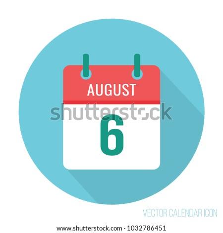 August 6 calendar flat icon