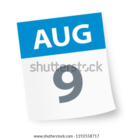 August 9 - Calendar Icon - Vector Illustration