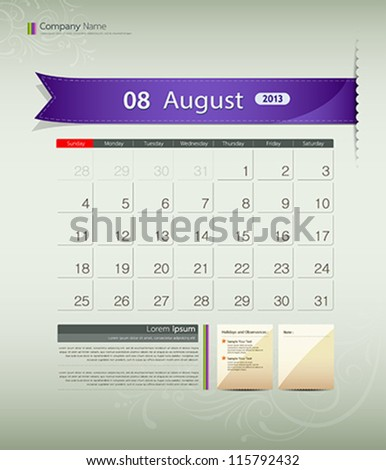 August 2013 calendar ribbon design, vector illustration - stock vector
