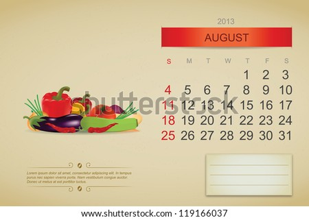August 2013 calendar. Vector illustration