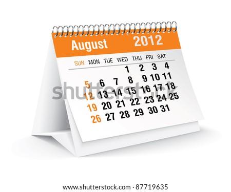 august 2012 desk calendar