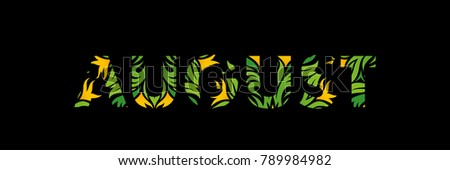 stock-vector-august-month-text-with-abstract-graphic-vegetation